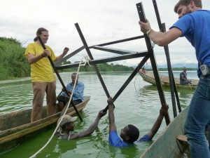 The installation of the water intake in Kashaka, Uganda during the field course - a joint effort of Engineers Without Borders and Fontes Foundation.