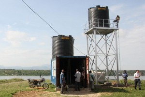 A second water storage tank has been installed on the newly constructed water tower. The reason is to increase the water pressure for the private connections, which need a higher pressure than the public tap stations.