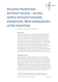 Hygiene Promotion Without Water – Water Supply Without Hygiene Promotion: New Emergencies after Disasters