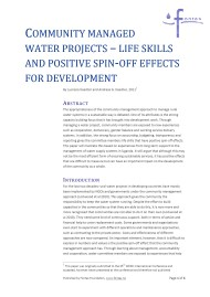 Community Managed Water Projects – Life Skills and Positive Spin-off Effects for Development