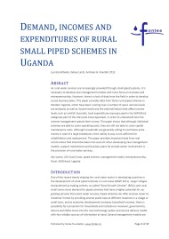 Demand, Incomes and Expenditures of Rural Small Piped Schemes in Uganda