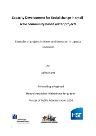 Capacity Development for Social Change in Small-Scale Community Based Water Projects – Examples of Projects in Water and Sanitation in Uganda Reviewed