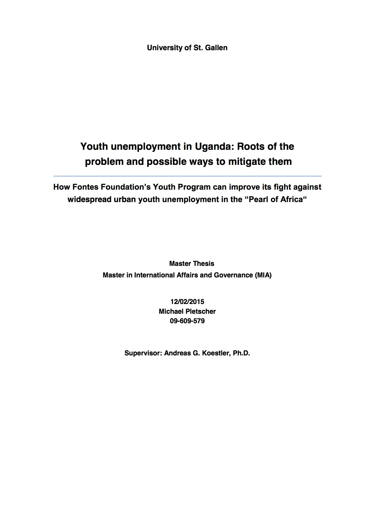 Youth unemployment in Uganda: Roots of the problem and possible ways to mitigate them